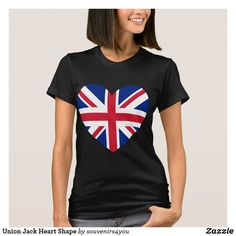 Shop Union Jack Heart Shape T-Shirt created by Personalize it with photos & text or purchase as is! Union Jack, Online Gifts, Heart Shapes, Tees, T Shirt, Shopping, Women, Fashion, T Shirts