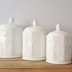 Indiana Milk Glass Canister - Carnival Harvest Grape pattern - Set Of 3 Design Room, Design Table, Interior Design, Room Interior, Design Design, Antique Table Lamps, Glass Canisters, Indiana Glass, Fenton Glass