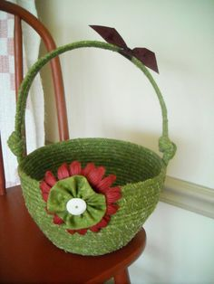 Fabric Coiled Basket Vintage Button Green Fabric by StitchedByMary