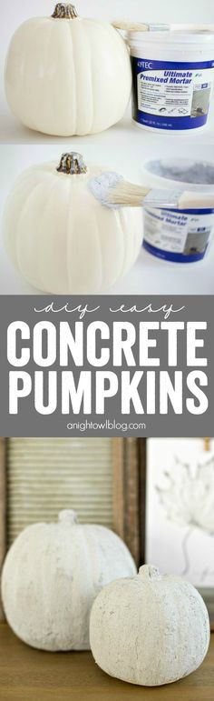 Easy Concrete Pumpkins What a great hack! Create DIY Easy Concrete Pumpkins at home in just minutes - perfect for rustic or neutral fall decor!Hack Hack may refer to: Autumn Decorating, Pumpkin Decorating, Decorating Ideas, Decoration St Valentin, Pumpkin Crafts, Pumpkin Ideas, Fall Projects, Diy Projects, Autumn Crafts