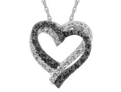 White and Black Diamond Double Heart Pendant Necklace 1/5 Carat (ctw) in Sterling Silver with Chain MyJewelryBox. $99.00. If you are not completely satisfied, you can return any order for refund or exchange within 30 days from the date of shipment - shop with confidence!. Free Signature MyJewelryBox Gift Box. Save 62% Off!