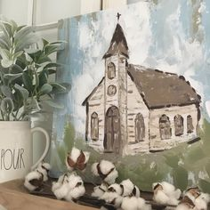 Farmhouse decor church painting mantel decor rae dunn clay d Farmhouse Paintings, Cotton Painting, Church Pictures, Chapelle, Canvas Art, Canvas Crafts, Acrylic Paintings, Learn To Paint, Pictures To Paint