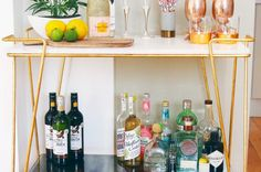 Learn how on havenly's blog! Interior Design Advice, Bar Interior, Interior Design Inspiration, Interior Styling, Home Bar Rooms, Home Bar Decor, Portable Bar, Home Bar Furniture, Bar Cart Styling