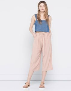 Pull&Bear - woman - new products - culottes with bow - nude pink - 05684335-V2016