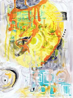 acrylic ink & stamping on Yupo Acrylic Paintings, Stamping, Ink, Orange, Stamping Up, India Ink, Scrapbook Stamping, Printing