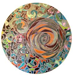"This is a 20"" circle. Mosaic porcelain. Can be used as a lazy susan or hang on wall as art"