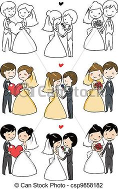 Vector - lovely bride and groom - stock illustration