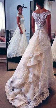 Vintage wedding dresses,Full lace wedding dress,Off shoulder bridal gowns,Plus Size wedding dresses for bride