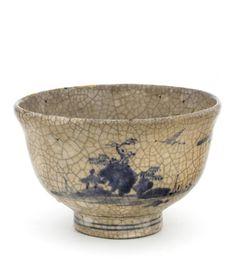 haruenishikawa: Arita ware tea bowl with landscape design Edo period Stoneware with slip and cobalt pigment under clear glaze H: W: cm Arita, Japan (Japanese Art Ceramic Mugs, Porcelain Ceramics, Ceramic Bowls, Ceramic Pottery, Pottery Art, Porcelain Dinnerware, Painted Porcelain, Matcha, Japanese Ceramics