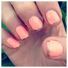 Our favorite nail designs, tips and inspiration for women of every age! Great gallery of unique nail art designs of 2017 for any season and reason. Find the newest nail art designs, trends & nail colors below. Prom Nails, Wedding Nails, Glitter Wedding, French Manicure Designs, Nail Designs, Hair And Nails, My Nails, Coral Nails, Peach Nails