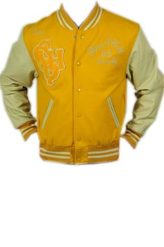 Scotch & Soda, giubbotto giallo con maniche in pelle in beige