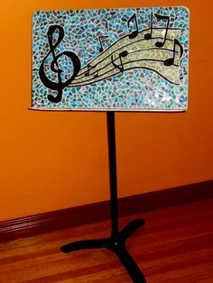 Mosaic Music Stand made from recycled music stand, and tiles