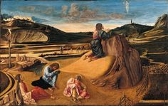 London National Gallery Next 20 03 Giovanni Bellini - The Agony in the Garden Giovanni Bellini - The Agony in the Garden, about 1465, 81 x 127 cm. Jesus prays in the Garden of Gethsemane while Peter, James and John sleep. An angel reveals a cup symbolizing his impending sacrifice. In the background, Judas approaches with the Roman soldiers who will arrest Jesus. Perhaps for the first time in Italian painting, the artist has represented a real, observed sunrise, which tints the undersides of…