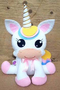 Pastel Color Unicorn Stuffed Dolls Soft Plush Toys for Kids Christmas Gift Gold First Birthday, Unicorn Themed Birthday, Unicorn Party, Birthday Cake, Felt Animal Patterns, Stuffed Animal Patterns, Pdf Patterns, Princess Cake Toppers, Baby Mobile