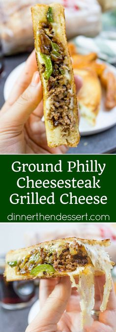 Ground Philly Cheesesteak Grilled Cheese - Dinner, then Dessert Ground Philly Cheesesteak Grilled Cheese made with bell peppers, onions and American or Provolone Cheese. All the flavor of a cheese steak for half the price. How To Make Cheese, Food To Make, Beef Dishes, Food Dishes, Tostadas, Tacos, Grilled Cheese Recipes, Grill Cheese Sandwich Recipes, Grilled Cheeses
