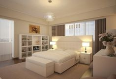 Bedroom Design Ideas for Couples Adjusted to Cream Wall Paint : White Elegant Bedroom Design Ideas For Couples White Bed White Bed Bench Whi...