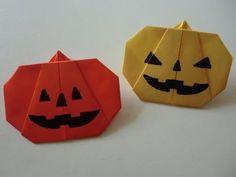 """【ハロウィン】折り紙 ジャック・オ・ランタン(かぼちゃ)の折り方 How to Origami """"Jack-o'-Lantern"""" - YouTube"""