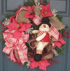 Christmas SNOWMAN ON ROCKING HORSE Door Wreath