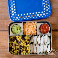 Grilled chicken, Spanish rice, cheese, salsa, and guacamole in a #LunchBots Bento Cinco.