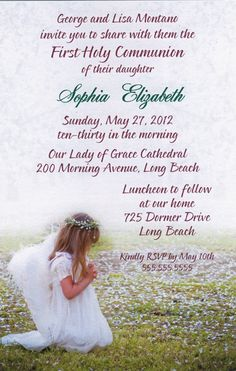 Spring Angel First Communion Invitations First Communion Invitations, Party Invitations, First Holy Communion, Announcement Cards, Flower Girl Dresses, Wedding Dresses, Spring, Angels, English