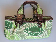 FOSSIL Green Brown Leaf Leaves Canvas East West Hand Shoulder Bag Purse  #Fossil #ShoulderBag