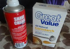 All you need is a bottle of shaving cream and a box of corn starch.  This was enough for two tubs of this wonderful, fluffy stuff!  We poured about half the box of corn starch in each tub and then just squirted the shaving cream into them.  We used the entire bottle between the two tubs.