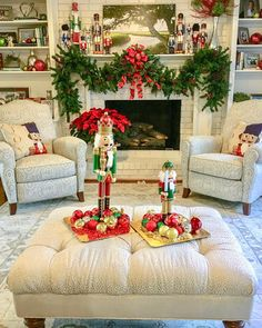 This family with 4 young kids has a cute collection of nutcrackers. We grouped them all together for the best effect- then added garland, bows, some blingy ornaments and voila! Nutcracker Christmas, Christmas Bows, All Things Christmas, Christmas Themes, Christmas Decorations, Nut Cracker, Christmas Interiors, Front Door Decor, Luxury Home Decor