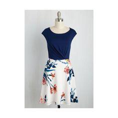 Mid-length Sleeveless A-line Ramen Rendezvous Dress ($60) ❤ liked on Polyvore featuring dresses, apparel, blue, fashion dress, blue wrap dress, blue knit dress, lily dress, a line knit dress and a line wrap dress
