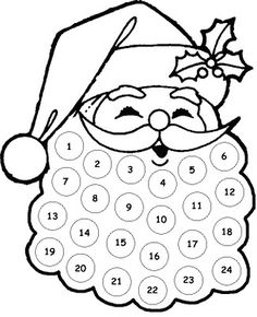 Free Printable Santa Countdown,This quick printable is the perfect little countdown for toddlers. Give them some stickers or a marker pen and allow them to check off each day. Preschool Christmas, Christmas Activities, Christmas Printables, Christmas Projects, Holiday Crafts, Holiday Fun, Santa Crafts, Christmas Crafts For Kids To Make At School, Santa Countdown