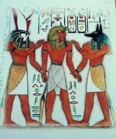 Ramsès III entre Horus et Anubis. Aquarelle, Christine Monsion