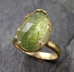 Green Tourmaline Rose Gold Ring Gemstone Solitaire recycled 14k