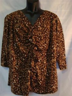 Jones New York Woman Plus Size (1X) Mocha Multi Ruffle Front Top - NWT Ret $56 - Buy It Now for $15.99 plus shipping