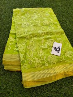 Pure chiffon sarees with threadwork. These sarees designed with pure chiffon fabric with allover thread work with golden zari lines with blouse. Gold Silk Saree, Lace Saree, Chiffon Saree, Saree Dress, Chiffon Fabric, Pure Georgette Sarees, Silk Sarees, Gota Patti Saree, Half Saree Designs
