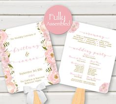 Floral Wedding Program Fan Blush Gold White by PerfectlyMatched