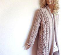 Damen Cable Knit Sweater, gestrickte Merino Wolle Strickjacke, vielen Farben erhältlich