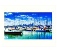 Oil on Canvas at the Hobsons Bay Yacht Club Art Print