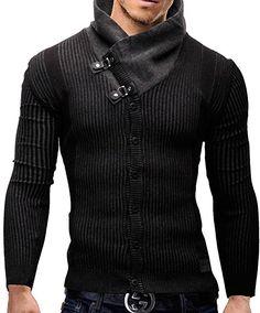 MERISH Cardigan Slim Fit For Men Fisherman Knit Jumper Modell s10 Black M: Amazon.co.uk: Clothing
