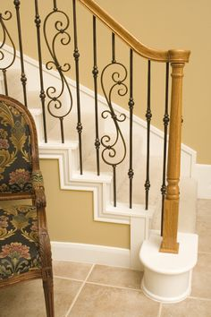 This staircase pattern features balusters from the Tuscan Round Hammered series. The spiral scroll (16.1.25) and the double sphere baluster (2.10.3) create a uniquely designed stair pattern. These balusters are stocked in solid wrought iron, and are available in a Satin Black, Copper Vein, Oil Rubbed Bronze Satin Clear, and Vintage Brass powder-coated finish. For information about the 2.10.3 double sphere baluster please click the image.