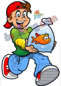 boy with his pet goldfish canvas print for just rupees 1750 @bsabling.com #canvasprints #canvaspainting