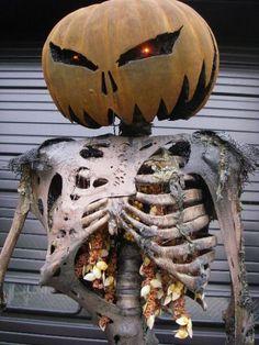 Add pumpkin to make guts on a skeleton - super creative Halloween decoration!