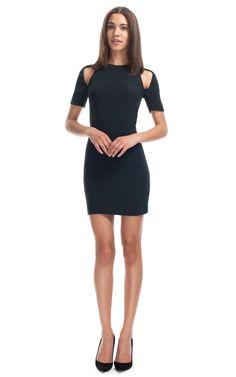 Black Slashed Mini Dress by Dion Lee for Preorder on Moda Operandi