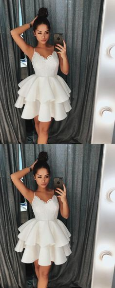 Cute White Spaghetti Straps Homecoming Dress with Lace Top,Ruffles Short Prom Dress