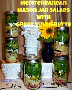 Mediterranean Mason Jar Salads with Greek Vinaigrette