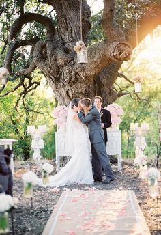 Hanging lanterns, soft pink florals, feminine and romantic ceremony // Stephanie Hunter Photography