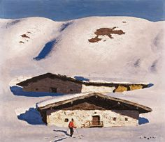 Biography, Literature and Works by Alfons Walde The Austrian painter and architect Alfons Walde was born on February 1891 in the village of Oberndorf near Kitzbühel. Mountain Art, Mountain Landscape, Oil Painting On Paper, Snow Place, Kunst Online, Ski Posters, European Paintings, Vintage Ski, Museum