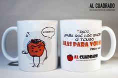 Taza de Al Cuadrado de cerámica, apta para microondas y lavavajillas, con ilustración inspirada en Frida Kahlo. Mugs, Tableware, Microwaves, Dishwasher, Frida Kahlo, Products, Dinnerware, Tablewares, Mug