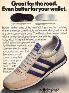 Adidas Shoes OFF! Adidas Boston 1981 vintage sneaker ad @ The Freakin Ekin Vintage Sneakers, Retro Sneakers, Retro Shoes, Vintage Shoes, Adidas Sneakers, Shoes Sneakers, Shoes Men, Adidas Vintage, Adidas Retro