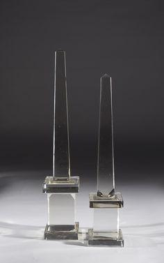 Two Crystal Obelisks - Dim: h. 47cm; h. 54cm
