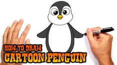 How to Draw Cartoon Penguin- Beginners Art Lesson Penguin Drawing Easy, Easy Animal Drawings, Bird Drawings, Cartoon Drawings, Easy Drawings, Drawing Lessons For Kids, Art Lessons For Kids, Drawing Ideas, Cartooning 4 Kids