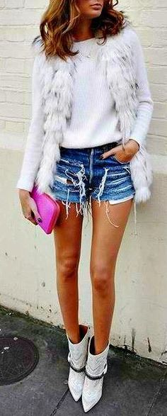 Sweater, vest & boots -- fabulous (but really needs to be paired with skinny jeans!)